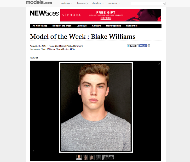 Blake Williams for Models.com